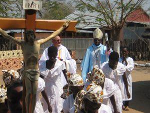 Bishop, Fr. Waldemar and Stellas during procession