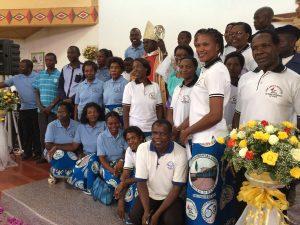 Bishop Mulenga with Chilonga Hospital workers
