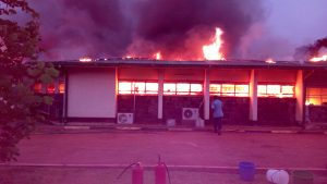 Midwifery school in flames