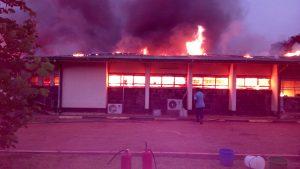 Midwifery school in flames